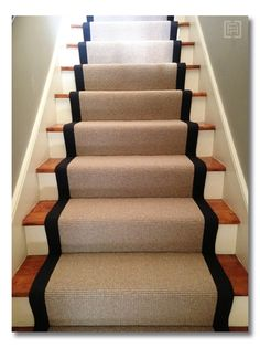 Wool stair runners bound in black cotton! project library Before and After :: photo update and sources via Fieldstone Hill Design.