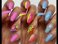3 Easy Accent Nail Ideas! Freehand #5 (Khrystynas Nail Art) - YouTube