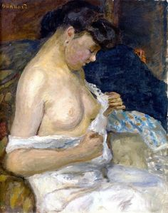 Pierre Bonnard - Woman Removing Her Shirt, c. 1905.
