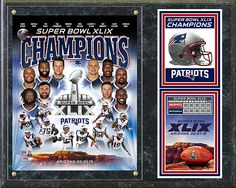 New England Patriots Super Bowl XLIX Champions - Commemorative 12 x 15 Plaque