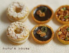 nunu's house - by tomo tanaka - All The Small Things, Mini Things, Tiny Food, Fake Food, Polymer Clay Miniatures, Dollhouse Miniatures, Mini Pastries, Food Sculpture, Paris Brest