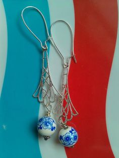 Blue and White Beaded Silver Earrings ($22)