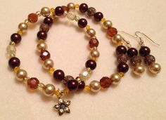 Autumn stretch bracelet set with glass beads, glass pearls, crystal becomes, rustic metal beads. $35