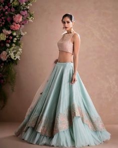 Latest Designer Wedding Lehenga Designs for Indian Bride Sky Blue Layered Embroidered Designer Lehenga Choli Indian Gowns Dresses, Indian Fashion Dresses, Dress Indian Style, Indian Designer Outfits, Pakistani Dresses, Designer Dresses, Designer Bridal Lehenga, Bridal Lehenga Choli, Lehenga Choli With Price