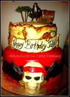 Pirates of the Carribean cake, super fun to do!!!