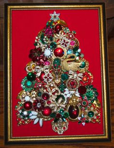 OOAK Vintage Rhinestone Jewelry Framed Christmas Tree Collage Gold Tone Red Grn