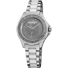 Akribos Diamond Silver-Tone Steel and White Ceramic Ladies Watch ($292) ❤ liked on Polyvore featuring jewelry, watches, white bracelet, diamond jewelry, diamond bracelet, white watches and pave diamond bracelet