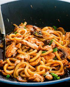 Chicken Udon Noodles, Hoisin Chicken, Chicken Noodle Recipes, Pasta Recipes, Cooking Recipes, Stir Fry Udon Noodles, Udon Recipes, Cooking Ideas, Udon Noodles