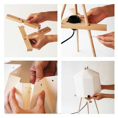 origami lamps - Not only is this origami lamp made from environmentally friendly materials like paper and wood—but that is all it is made of. No screws or ev...