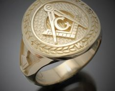 Masonic Ring in Solid Gold with Black G Style by ProLineDesigns