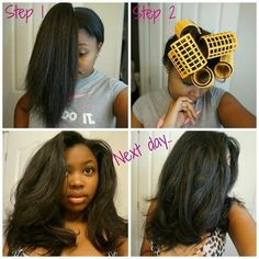 This girl's hair is just everything.... modified rollerset