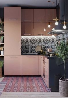 Blush Pink Kitchen: Beautiful Ideas for a Lovely Home Apartment Kitchen, Home Decor Kitchen, Home Kitchens, Apartment Interior, Apartment Design, Kitchen Dining, Pink Kitchens, Kitchen Ideas, Interior Design Boards