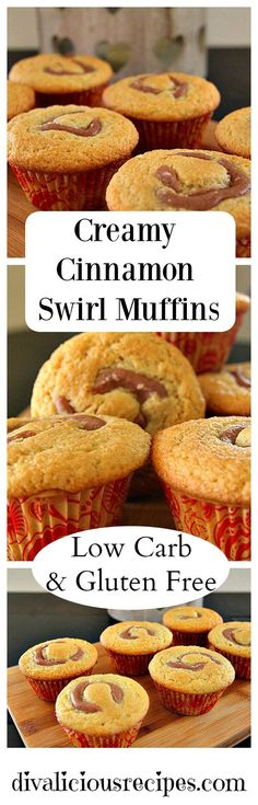 A vanilla muffin with a creamy cinnamon swirl in the middle. Deliciously simple and low in carbs as well as being gluten free. Recipe - http://divaliciousrecipes.com/2016/12/01/creamy-cinnamon-swirl-muffins/