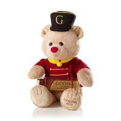 Drummer Bear Gund® Plush with Solid Milk Chocolate Bar He is a must have for any Gund collector.and any true Godiva holiday bear fan. Chocolate Delight, Chocolate Sweets, Chocolate Gifts, Chocolate Truffles, Harrods Teddy Bear, Godiva Chocolatier, Big Stuffed Animal, Personalized Chocolate, Bear Toy