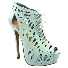 Mint platform peep toe high #heels #booties. Great shoes for your new outfit. For a special party or night out. Ready for the weekend!