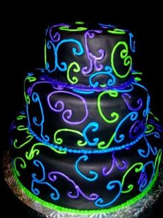 Round Cake ~ Enchanted Cakes of Brevard ~ Rockledge, Florida. This cake is a party. Just add people ~ occasion optional. to their -wedding cakes- postboard via the Juxtapost bookmarklet. Neon Cakes, Purple Cakes, Neon Birthday, Sweet 16 Birthday, Birthday Cakes, Birthday Ideas, Birthday Stuff, 13th Birthday, Fancy Cakes