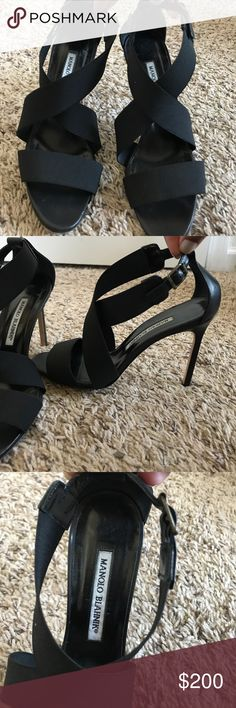 Manolo Blahnik Black Strappy Heels! Excellent used condition! Black elastic strappy heels. 4 inch heel height. Leather heel and buckle. Manolo Blahnik Shoes Heels