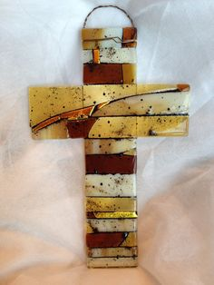 Fused Glass Cross in Complimentary Shades of Golden by sheristuff, $35.00