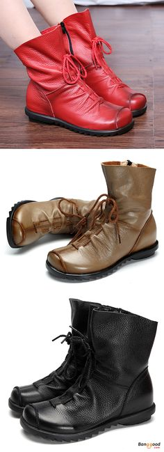 US$50.01 + Free shipping. Size: 5-11. Color: Black, Red, Camel. Fall in love with casual and elegant style! SOCOFY Large Size Leather Pure Color Lace Up Ankle Zipper Soft Boots.