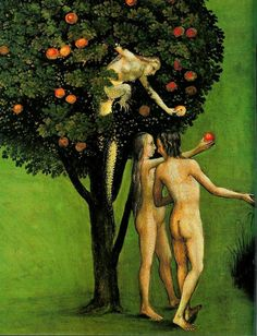 Hieronymus Bosch  Adam , Eve and the Tree of Knowledge from the Last Judgement Triptych The left wing of the tr...