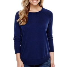 Stylus™ 3/4-Sleeve Swing Body Sweater  found at @JCPenney