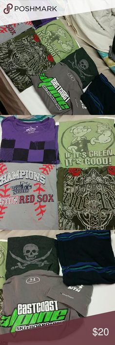 Moving! mens tshirt bundle, mostly Large sizes *purple Vans checkered purple and black size L *green popeye weed shirt size L *heathered charcoal grey Jolly Roger pirate shirt size L  *black, blue, and turquoise striped Mossimo brand Size 2XL  *Grey Boston Red Sox 2013 world series championship shirt 2xl not official  *olive green fancy script cross, skulls, and roses shirt size L *grey Under Armor charged cotton East Coast Alpine Ski, Snowboard, bike shirt size XL  All are in excellent…