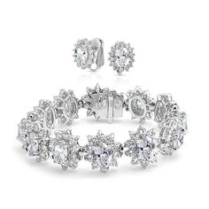 Oval CZ Flower Bridal Bracelet Clip On Earring Set Rhodium Plated
