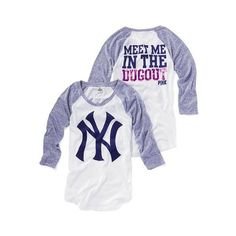 Victoria'S Secret New York Yankees Baseball Tee ($20) ❤ liked on Polyvore