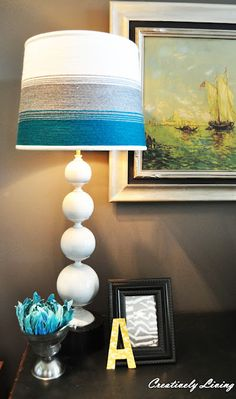homemade yarn lampshade!