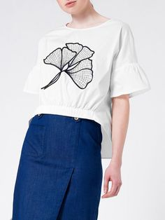 Shop T-Shirts - White Ruffled Frill Sleeve Spandex Crew Neck T-Shirt online. Discover unique designers fashion at StyleWe.com.