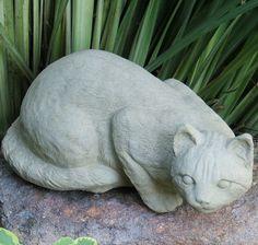 Merveilleux Crouching Cat Concrete Statue Animal Statues