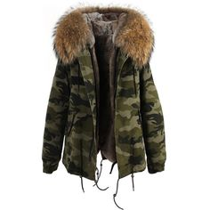 Camouflage Natural Fur Hooded Parka ❤ liked on Polyvore featuring outerwear, coats, fur collar coat, fur hood coat, camo coat, camo parka and faux fur lined coat