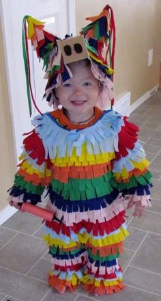 easy DIY piñata children kids baby infant costume for Halloween, great costume ideas, Halloween party ideas, fun costume ideas, pinata costume