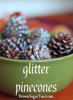 Easy Glitter Pinecones - beautiful centerpiece or vase filler. All it takes is glitter Mod Podge + pinecones! #ModPodgeHoliday