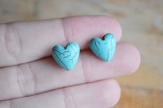 HEART OF STONE Turquoise Heart Stud Post Earrings by Run2theWild