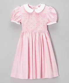 Look at this #zulilyfind! Pink Plaid Corduroy Smocked Dress - Infant, Toddler & Girls #zulilyfinds
