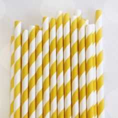 Striped Paper Straws: Sunflower