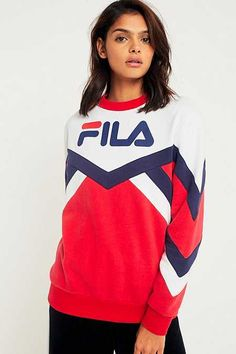 FILA Red Colour-Blocked Logo Sweatshirt
