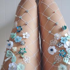 Spring loves #fishnetstockings #fishnettights #fishnets #madeinnyc #lirikamatoshi #handmade #embroidery •Available on Etsy•