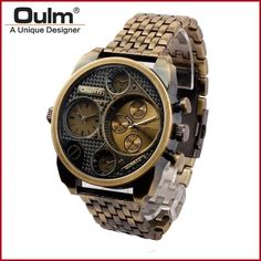 OULM Brand Men's Fashion Sports Stainless Steel Double Movement Classic Vintage Quartz Watch Multiple Time Zone
