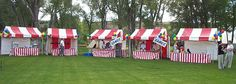 Love all the striped tents... You can get by with some bright colored flat sheets as backdrops for the games.