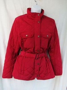 Womens Ladies GAP Parka Coat Winter Warmth Quilted Outdoor Jacket RED CRIMSON M