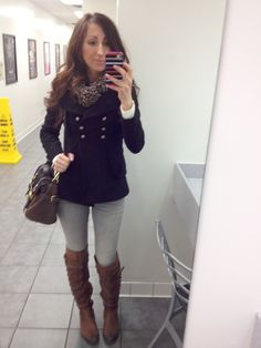 Lilly's Style < Thick jacket, white sweater, leopard scarf, jeans and long flat boots