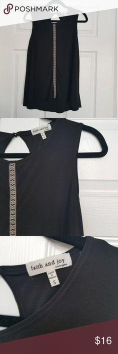 Faith and Joy black embroidered sleeveless tunic S Size small Faith and Joy sleeveless tunic Faith and Joy Tops Tunics