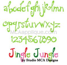MCA - Jingle Jungle Lowercase Embroidery Font.