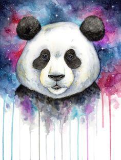 Doodlewash of panda face in watercolor by mette laustsen. Niedlicher Panda, Panda Love, Bored Panda, Cute Animal Drawings, Cute Drawings, Watercolor Animals, Watercolor Art, Miniature Cow Breeds, Miniature Cows