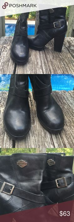 """Harley Davidson Boots Genuine leather. Size 10. Women's Harley boots. Great condition 😎. Stock #D84438.. Back of heel measures 5"""" Harley-Davidson Shoes Combat & Moto Boots"""