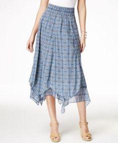 Style & Co. Printed Handkerchief-Hem Skirt, Only at Macy's | macys.com