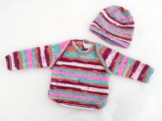 Hand Knit Baby Girl Set, Baby Clothes, Set of 2, Sweater, Hat, Baby Sweater, Baby Beanie, Set Of 2, Baby Girl, Modern Baby Set, Size 0-3m by heaventoseven on Etsy