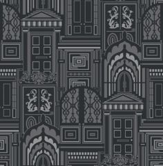 Opening Doors Liquorice (950804) - Sophie Conran Wallpapers - A beautiful true flock design with ornate doors on a metallic background.  Shown in the black colourway. Please request sample for true colour match. Paste the wall.